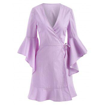 Bell Sleeve Plunging Neckline Mini Wrap Dress - MAUVE L