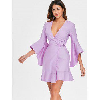 Bell Sleeve Plunging Neckline Mini Wrap Dress - MAUVE 2XL