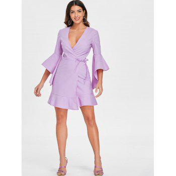 Bell Sleeve Plunging Neckline Mini Wrap Dress - MAUVE XL