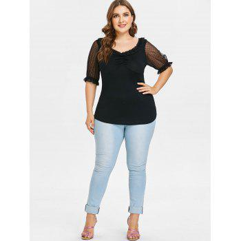 Plus Size Double V Neck Half Sleeve T-shirt - BLACK 1X