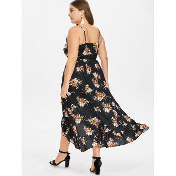 Plus Size Sleeveless Floral High Low Dress - BLACK 2X