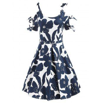 Vintage Floral Bowknot Cut Out Dress - CADETBLUE 2XL