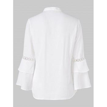 Hollow Circle Panel Flare Sleeve Blouse - WHITE 2XL
