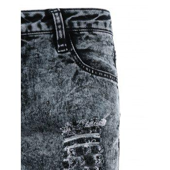 Ripped Frayed Skinny Jeans - SMOKEY GRAY XL
