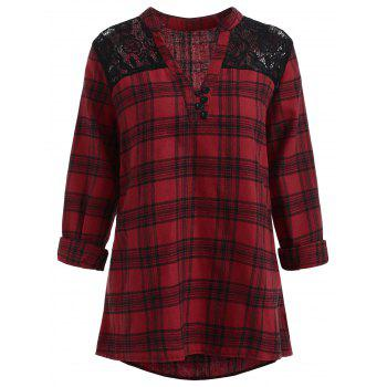 Plus Size High Low Plaid Blouse - RED 1X