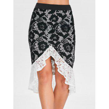 High Low Flounced Lace Skirt - BLACK L