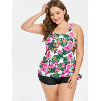 Side Knotted Plus Size Floral Print Tankini Set - multicolor 1X