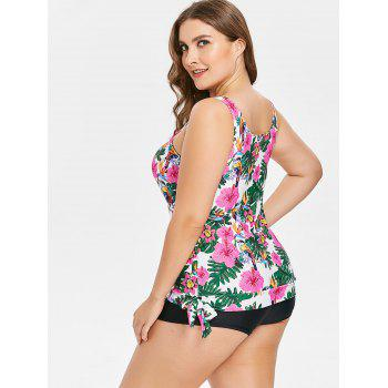 Side Knotted Plus Size Floral Print Tankini Set - multicolor 2X