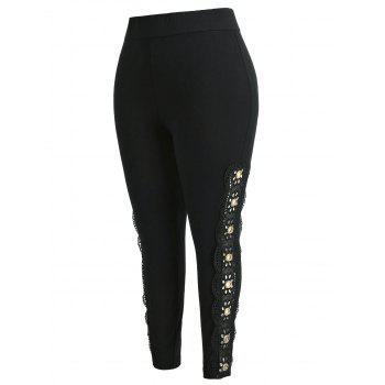 Plus Size Lace Trim Leggings - BLACK 1X