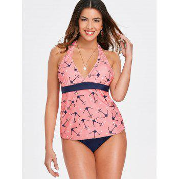 Empire Waist Boat Anchor Printed Tankini - LIGHT PINK S