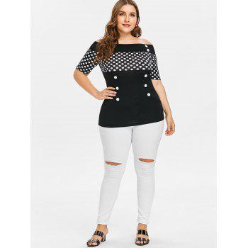 Plus Size Off Shoulder Dotted T-shirt - BLACK L