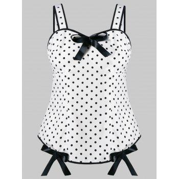 Plus Size Dotted Bowknot Tank Top - WHITE 3X