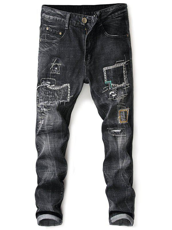 Tapered Vintage Stitching Straight Jeans - BLACK 36