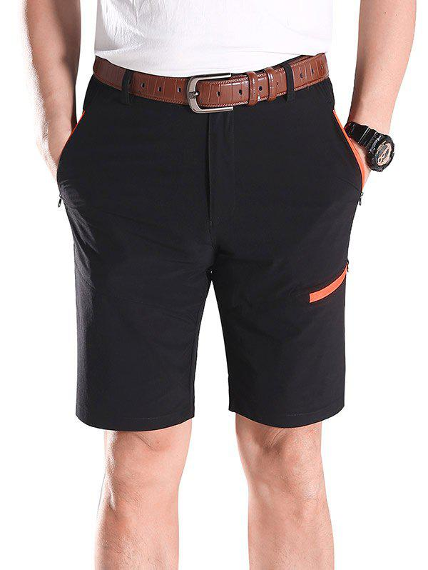 Zip Fly Contrast Color Sportive Shorts - BLACK XL
