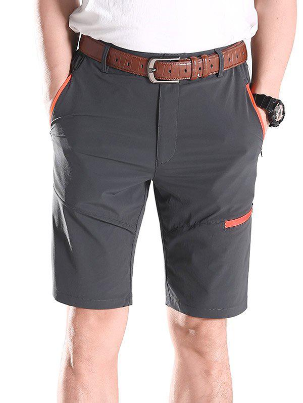 Zip Fly Contrast Color Sportive Shorts - ASH GRAY L