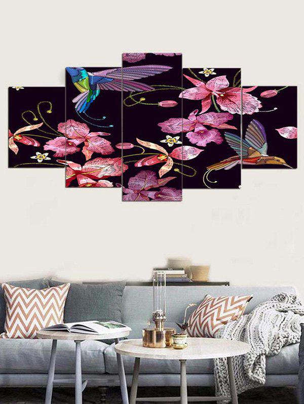 Flower And Bird Print Unframed Canvas Paintings - multicolor 1PC:8*20,2PCS:8*12,2PCS:8*16 INCH( NO FRAME )