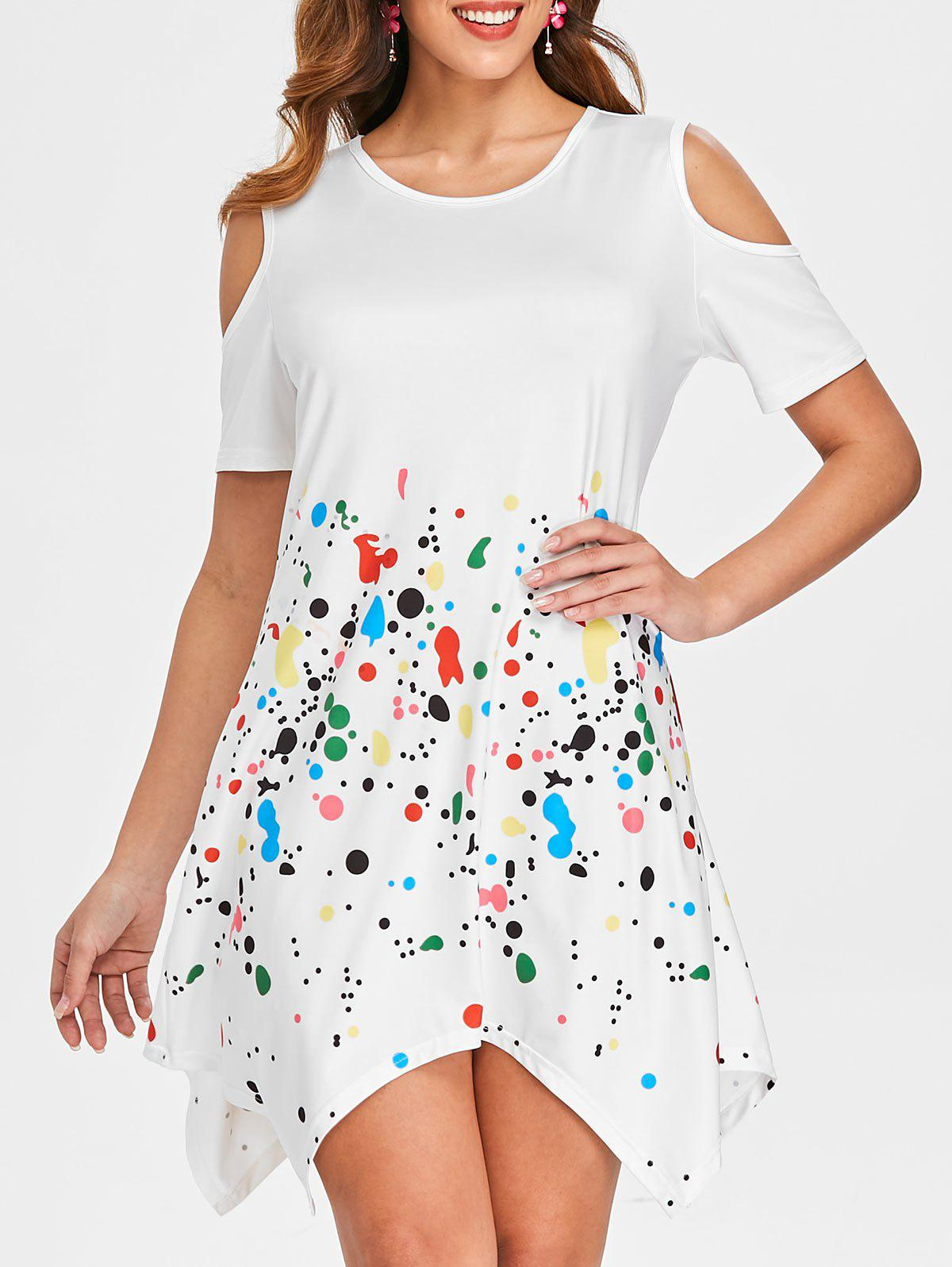 Open Shoulder Splash Pattern Dress - WHITE 2XL