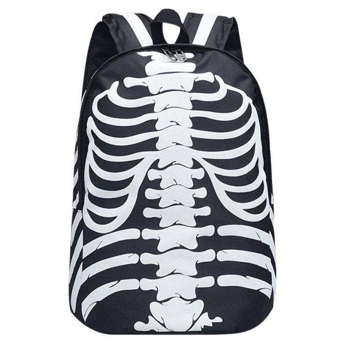 Noctilucence Skull Striped Backpack - WHITE