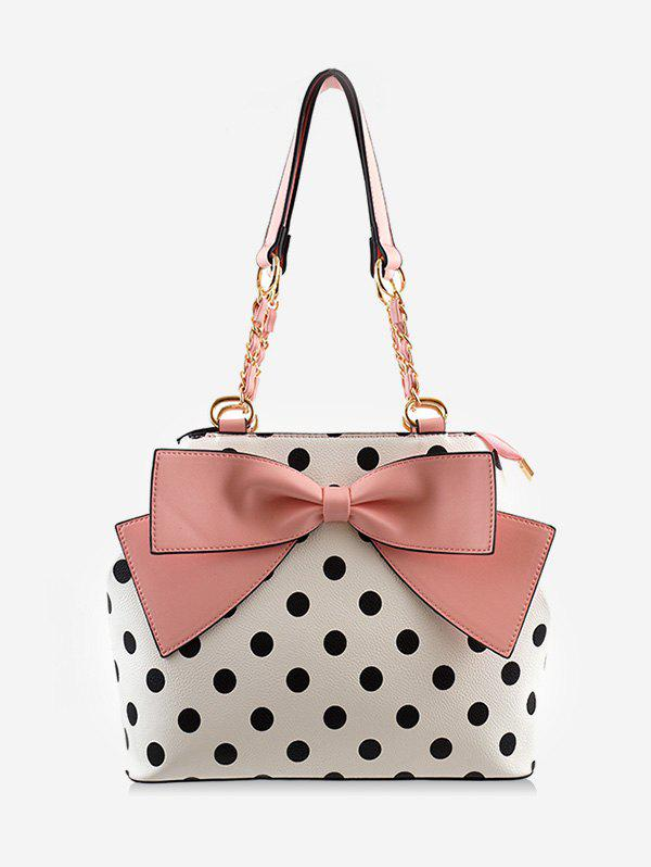 Polka Dot Bowknot Shoulder Bag - PINK