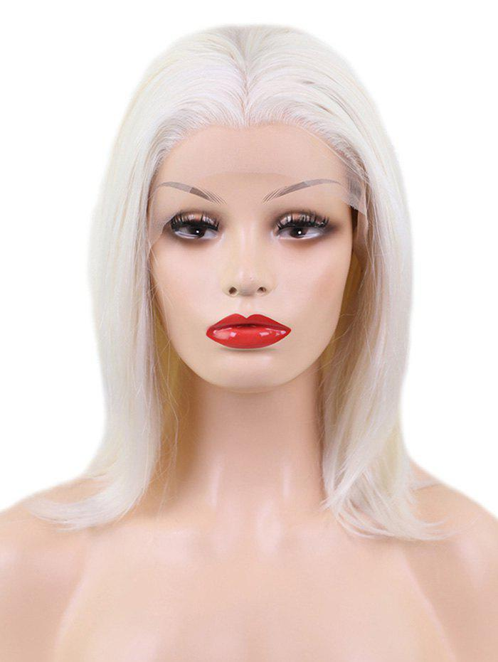 Long Center Parting Straight Cosplay Lace Front Synthetic Wig - WARM WHITE