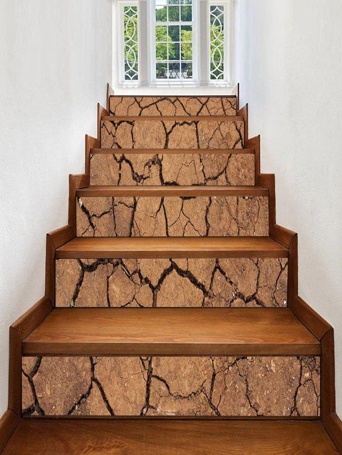 Dry Cracked Earth Printed Stair Stickers - ORANGE GOLD 6PCS:39*7 INCH( NO FRAME )