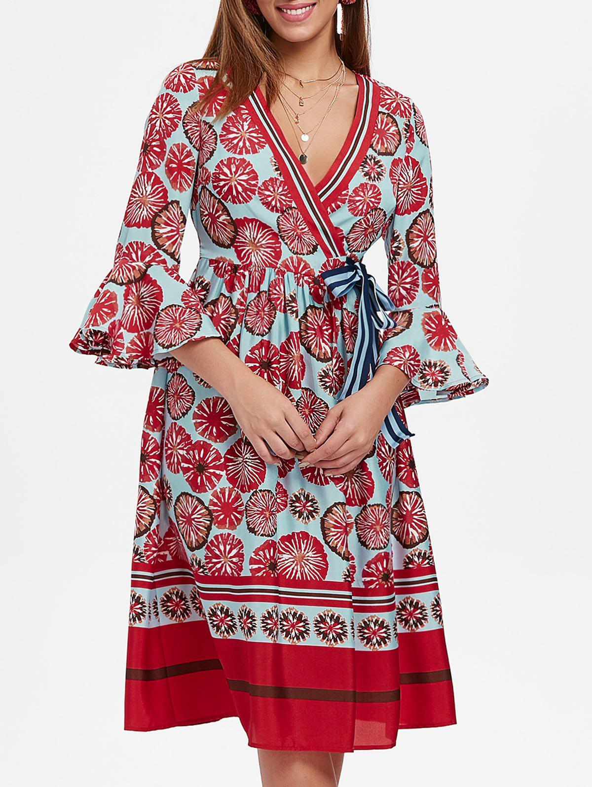 Printed Bell Sleeve Midi Surplice Dress - multicolor L