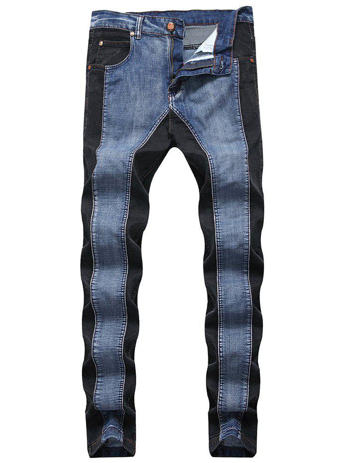 Zip Fly Contrast Color Skinny Jeans 273889905