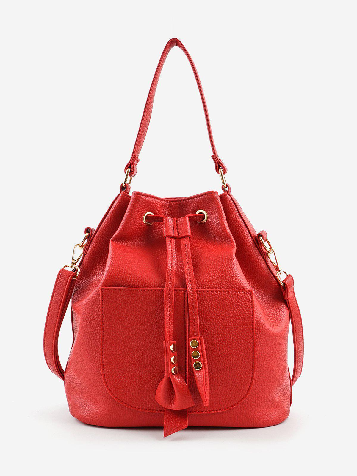Casual Bucket Shaped String Crossbody Bag - RED
