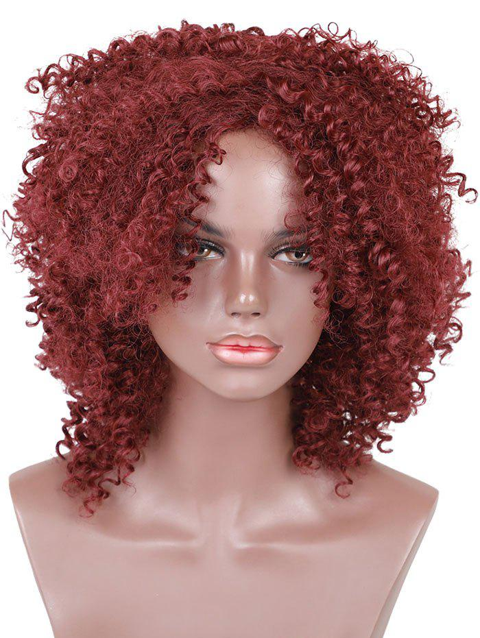 Medium Oblique Bang Fluffy Curly Capless Synthetic Wig - RED WINE