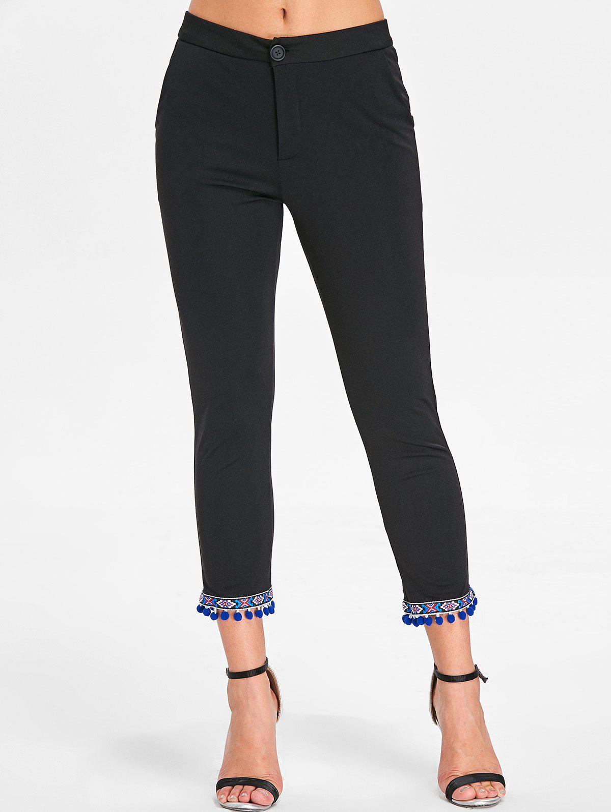 Pom Pom Ninth Skinny Pants - BLACK M