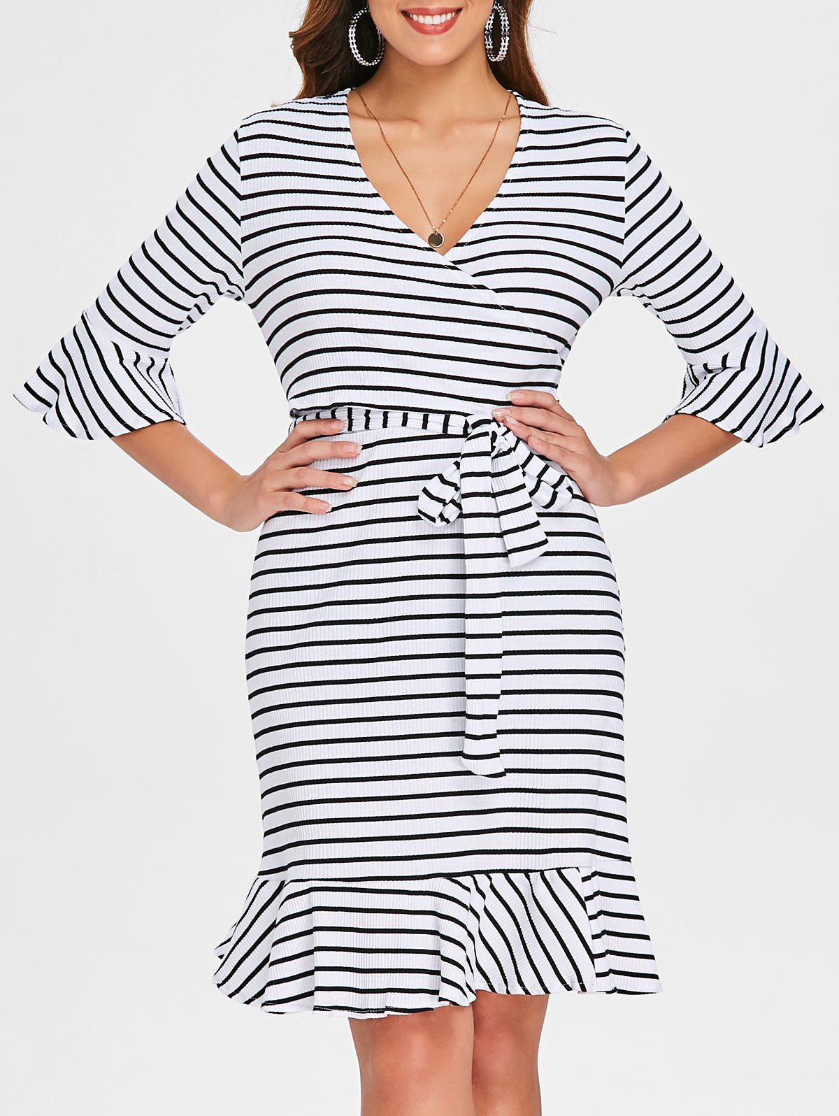 Ribbed Wrap Bodice Flounce Striped Dress - MILK WHITE M