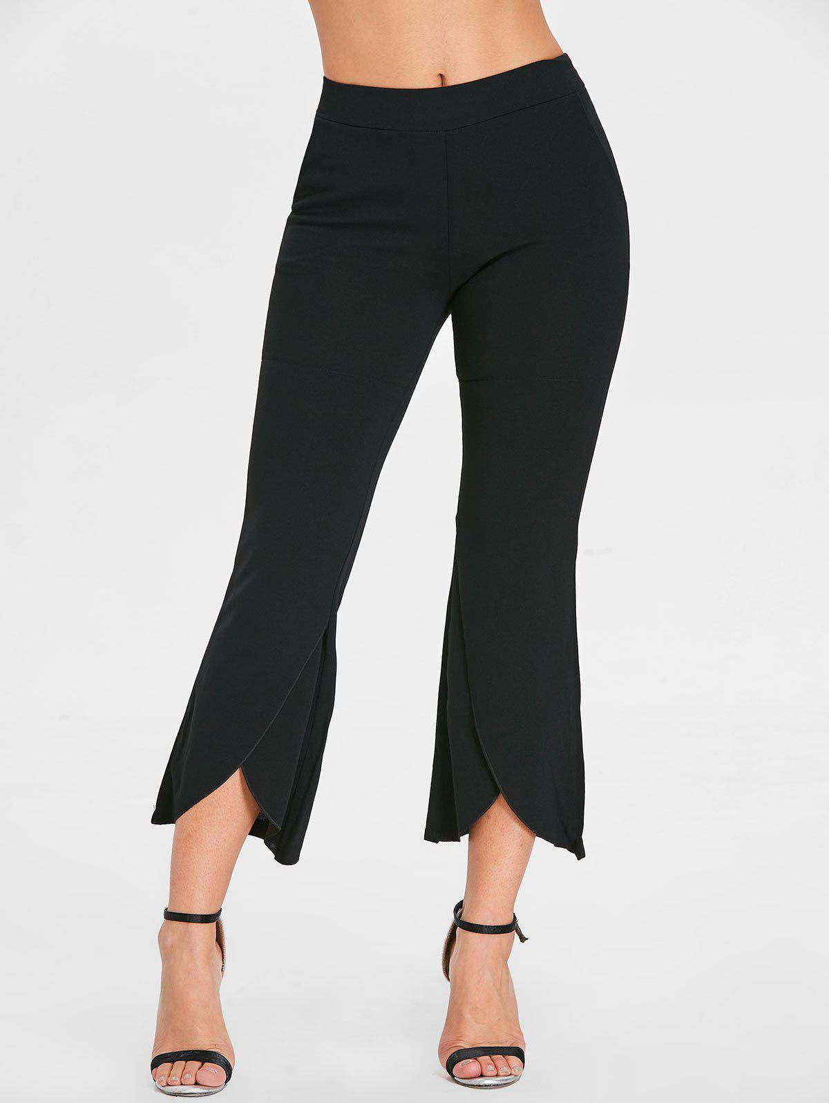 High Waist Ninth Flare Pants - BLACK L