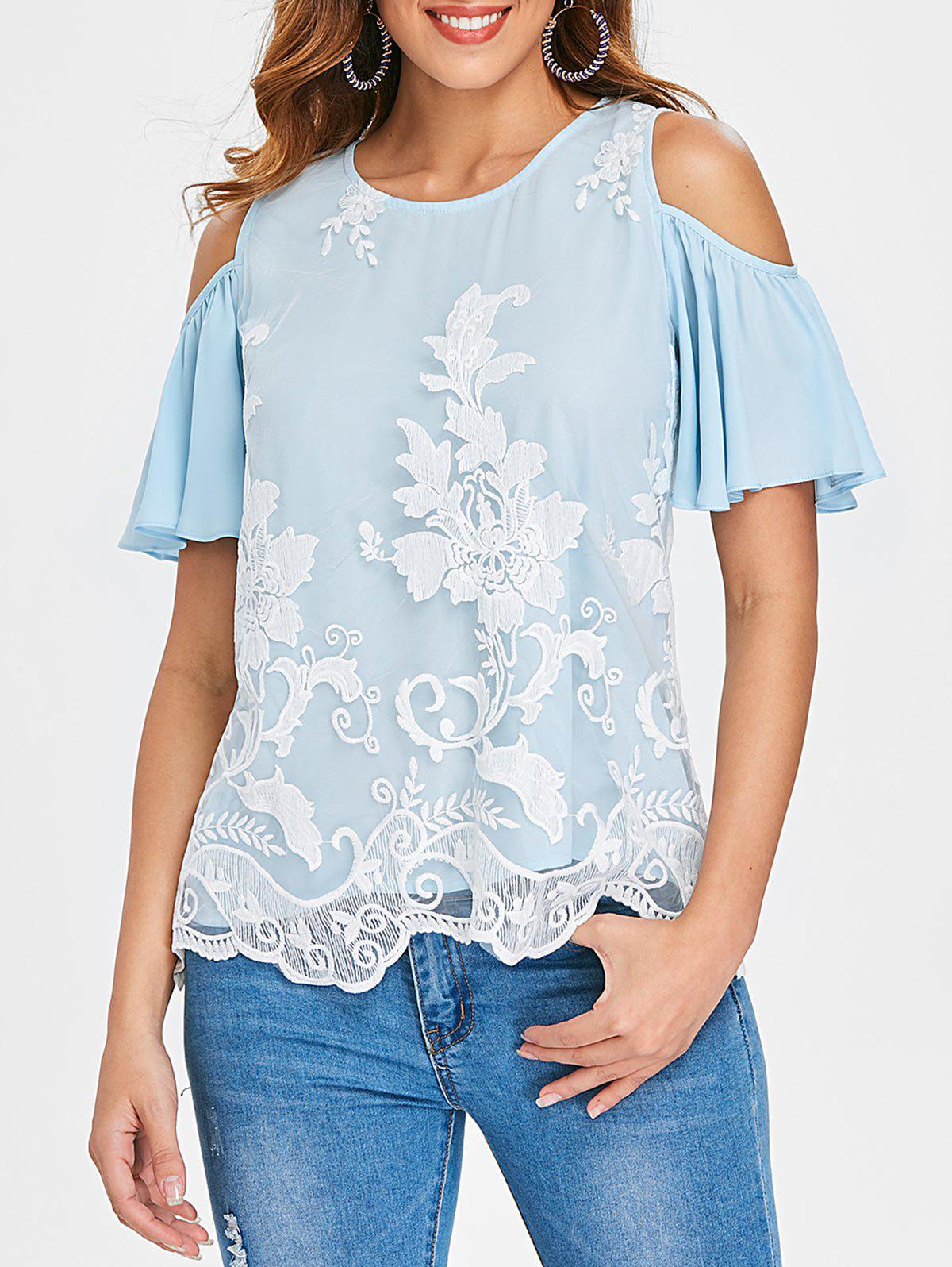 Embroidered Mesh Panel Blouse - LIGHT BLUE S