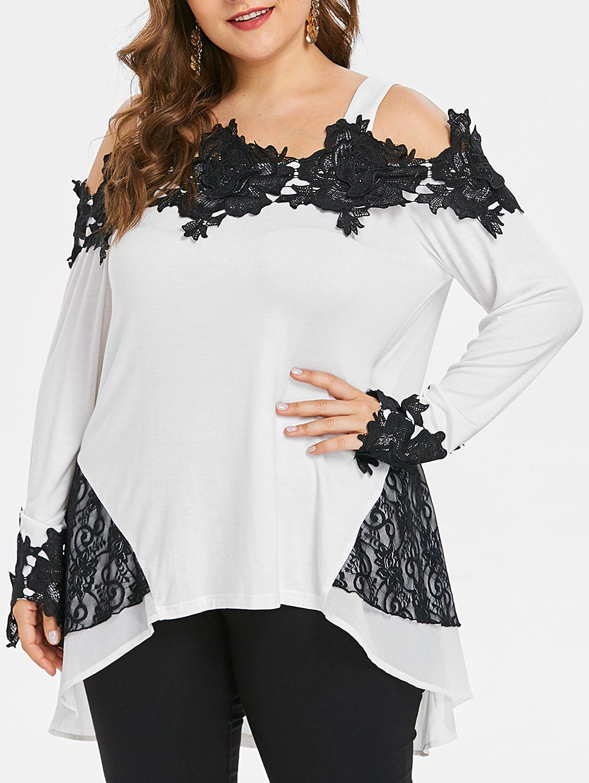 Plus Size Cold Shoulder High Low T-shirt - WHITE 3X