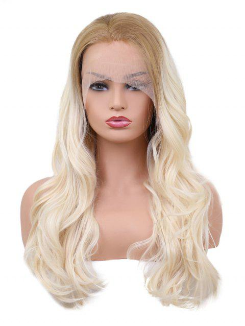 Long Colormix Wavy Party Lace Front Synthetic Wig - multicolor