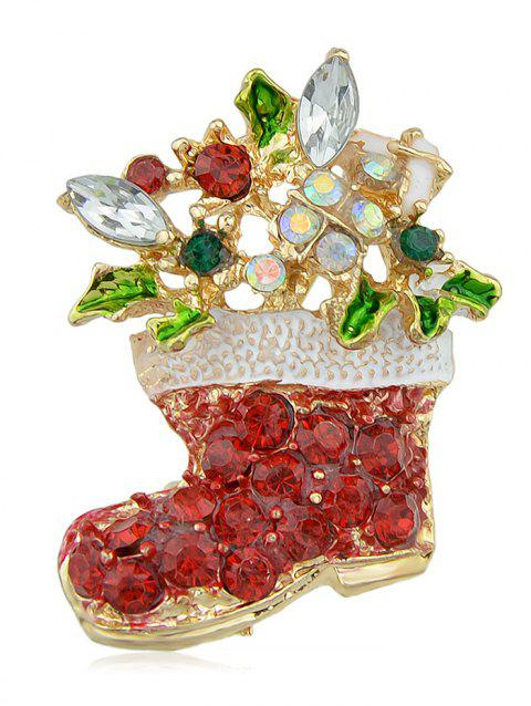 Christmas Boot Brooch With Rhinestone - RED