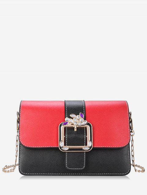Rhinestone Chic Color Block Flap Crossbody Bag - RED