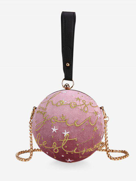 Ball Shaped Patchwork Chic Banquet Crossbody Bag - PINK