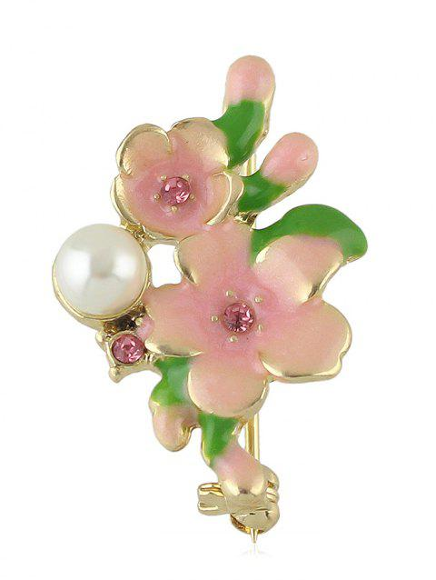 Flower Leaves Artificial Pearl Brooch - PINK