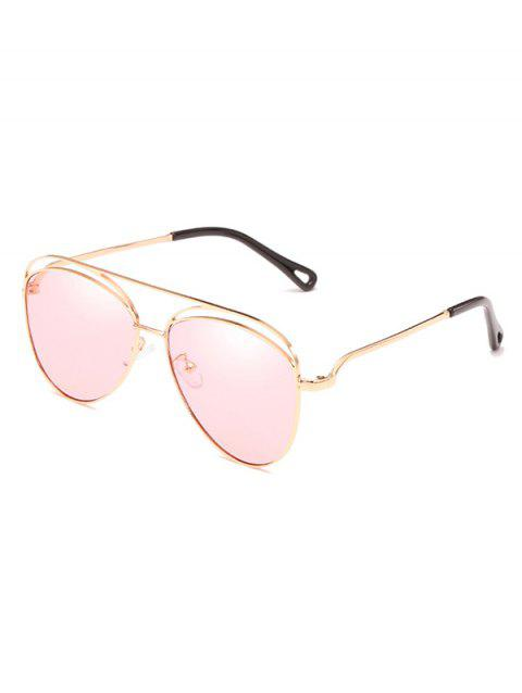 Anti UV Hollow Out Frame Crossbar Sunglasses - PIG PINK