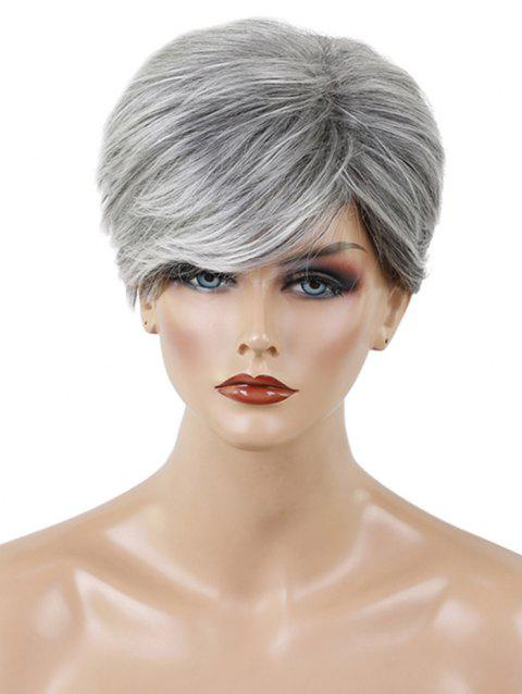 Short Side Bang Textured Layer Colormix Straight Human Hair Wig - PLATINUM
