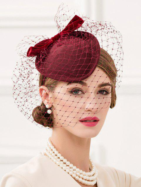 Vintage Mesh Wedding Cocktail Party Hat - RED WINE