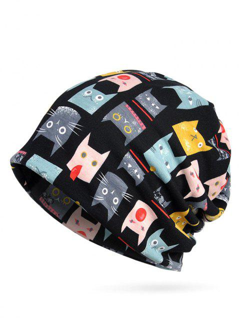Naughty Cat Pattern Stretchy Slouchy Beanie - BLACK