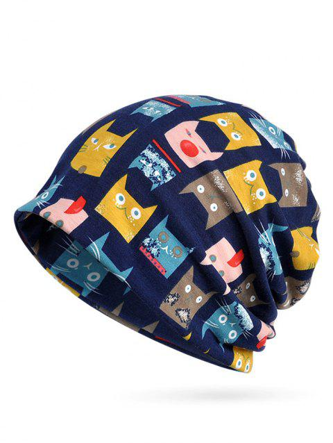 fc80d7f7c6d 2019 Naughty Cat Pattern Stretchy Slouchy Beanie In ROYAL BLUE ...