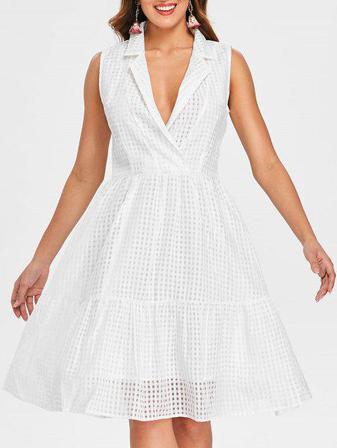 Low Cut Fit and Flare Dress - WHITE M