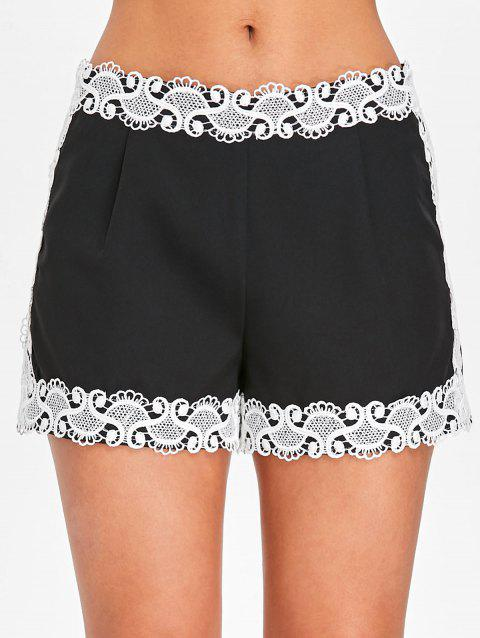 Applique Lace Two Tone Shorts - BLACK XL