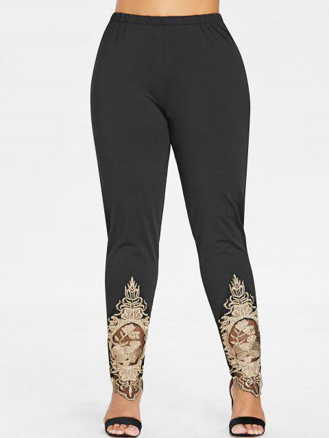 Plus Size Embroidered High Waisted Leggings - BLACK L