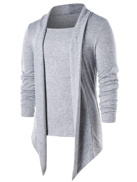Long Sleeve Faux Two Piece T-shirt - LIGHT GRAY M