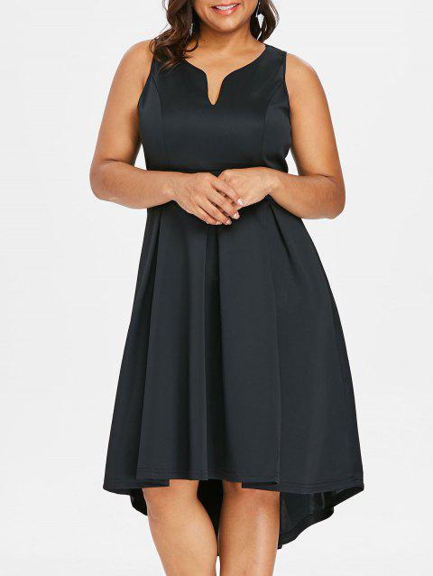Plus Size Midi Sleeveless Dress - BLACK 3X
