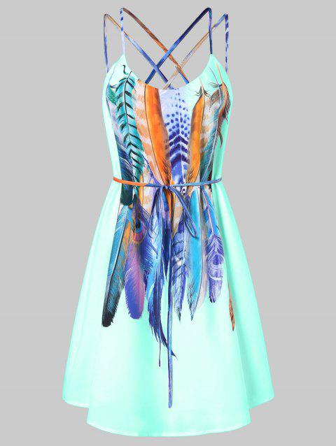 Feathers Printed Double Straps Dress - LIGHT CYAN L